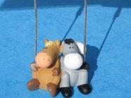 Porte-photo « double » NICI âne et cheval en polyrésine